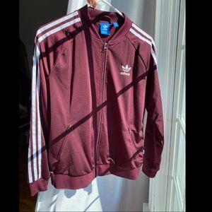 Adidas Three Stripes maroon zip up